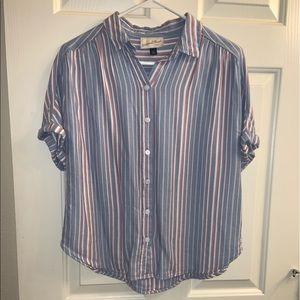 Cuffed Short Sleeve Button-Down